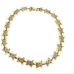 Hieroglyphics Inspired Star Link Collar Necklace